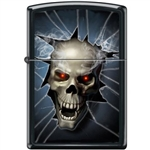 Zippo Lighter - Skull Broken Glass Black Matte - 853941