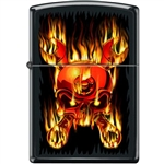 Zippo Lighter - Skull Flaming Wrenched Black Matte - 853943