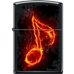 Zippo Lighter - Flaming Music Note Black Matte - 853945
