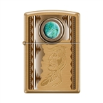 Zippo Lighter - American Indian w/ Turquoise Brush Brass - 854023