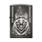 Zippo Lighter - Indian Wolf Black Ice - 854024