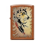 Zippo Lighter - Wolf with Feathers Toffee - 854026