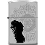 Zippo Lighter - Indian Woman Sunburst Satin Chrome - 854027