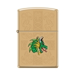 Zippo Lighter - Dazzling Dragon High Polish Brass - 854031