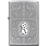 Zippo Lighter - Dazzling Dice In White High Polished Chrome - 854032