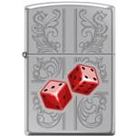 Zippo Lighter - Dazzling Dice In Red High Polished Chrome - 854033