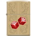 Zippo Lighter - Dazzling Dice In Red High Polish Brass - 854034