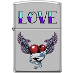 Zippo Lighter - Tattoo Heart Satin Chrome - 854040