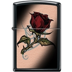 Zippo Lighter - Rose Tattoo Black Matte - 854041