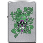 Zippo Lighter - Peeking/Laughing Skull Street Chrome - 854044
