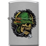 Zippo Lighter - Soldier Skull Brushed Chrome - 854046