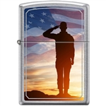 Zippo Lighter - Saluting Solider Street Chrome - 854047