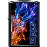 Zippo Lighter - Blue & Red Fire Black Matte - 854052