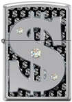 Zippo Lighter - Money w/Swarovski Crystals High Polish Chrome - 854055