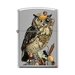 Zippo Lighter - Steampunk Owl Brushed Chrome - 854064