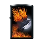 Zippo Lighter - Flaming Raven Black Matte - 854065