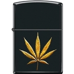 Zippo Lighter - Pot Leaf in Gold Black Matte - 854464