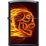 Zippo Lighter - Flaming Skull Black Matte - 854470