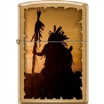 Zippo Lighter - Indian Silhouette Brushed Brass - 854729