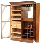 Cigar Humidor and Wine Rack Mahogany Finish - HUM-CWR-M