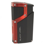 Black Label Czar Quad Torch Cigar Lighter Black Matte/Red