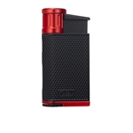 Colibri Lighter - Evo Angled Single Jet Black & Red - LI520C2