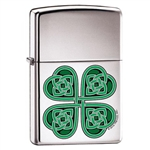 Zippo Lighter Celtic 4 Leaf Clover High Polish Chrome - ZCI001726