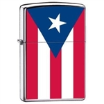 Zippo Lighter - Puerto Rico Puertorican Flag Satin Chrome - ZCI007966