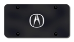 Acura Black License Plate - Chrome Logo