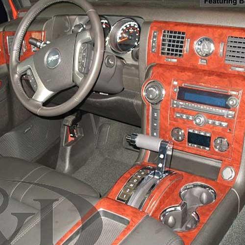Fits Hummer H2 2003-2007 Large Premium Wood Dash Trim Kit