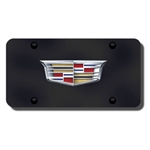 Cadillac New Logo License Plate - Black and Chrome