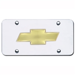 Gold Chevrolet Bowtie Logo on Chrome License Plate
