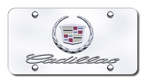 Cadillac License Plate with Wreath and Crest Logo with Cadillac ...
