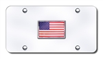 Chrome License Plate - US Flag