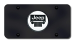Jeep Logo License Plate - Black and Chrome