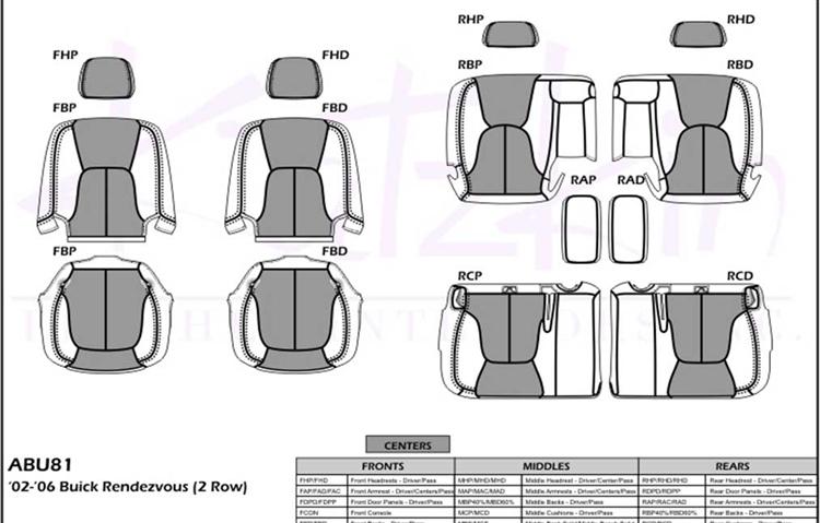 Buick Rendezvous Katzkin Leather Seat Upholstery 2002