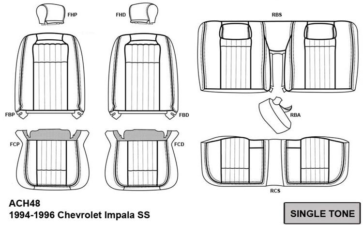 Chevrolet Impala SS Katzkin Leather Seat Upholstery, 1994
