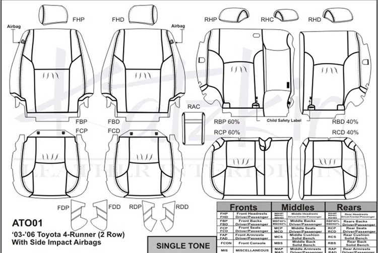 Toyota 4Runner Katzkin Leather Seat Upholstery, 2003, 2004, 2005, 2006,  2007, 2008, 2009 (with front seat SRS airbags, without third row seat) |