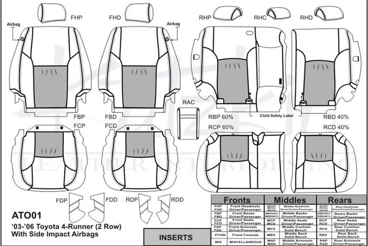Toyota 4Runner Katzkin Leather Seat Upholstery, 2003, 2004