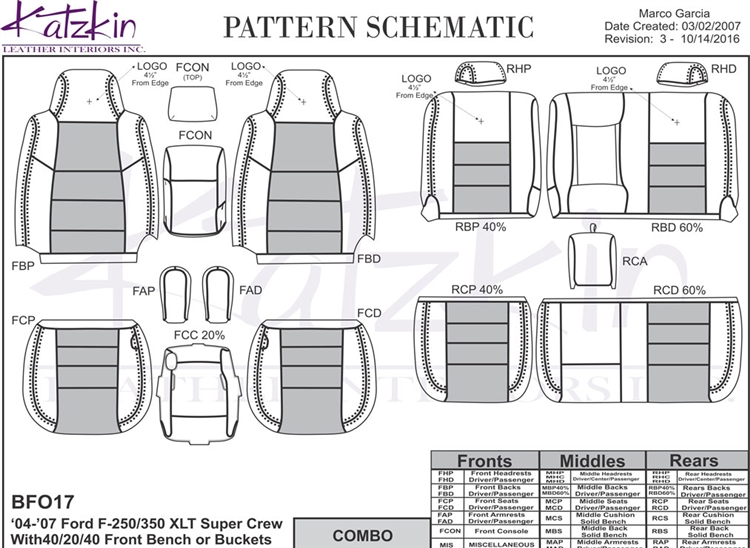 Ford F250 / F350 Crew Cab Katzkin Leather Seat Upholstery