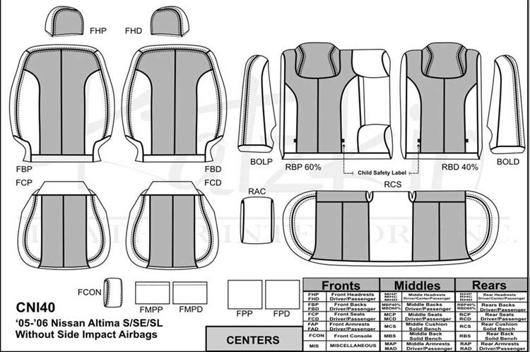 Nissan Altima S Sl Se Katzkin Leather Seat Upholstery 2005