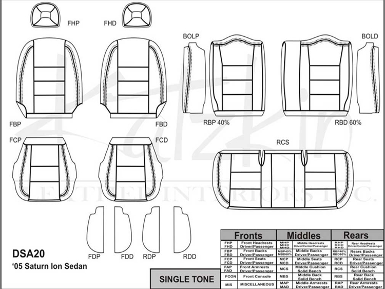 SATURN ION SEDAN 1 / 2 Katzkin Leather Seat Upholstery