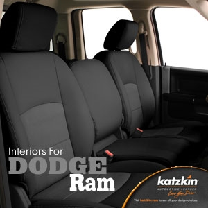 Dodge Ram 1500 Quad Cab Katzkin Leather Seat Upholstery, 2009 (3 passenger front seat, solid rear)