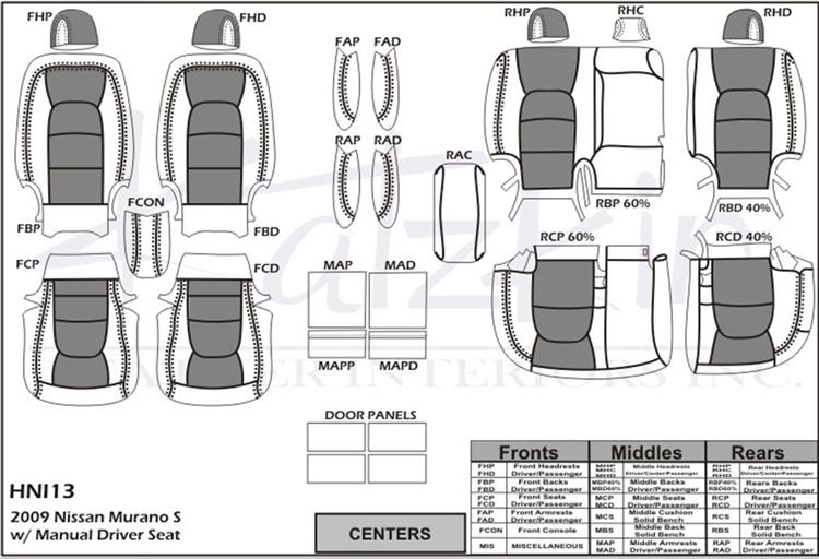 Nissan Murano S Katzkin Leather Seat Upholstery, 2009