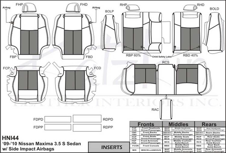 Nissan Maxima 3.5s Katzkin Leather Seat Upholstery, 2009