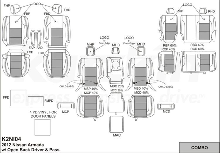 NISSAN ARMADA Katzkin Leather Seat Upholstery, 2012 (open