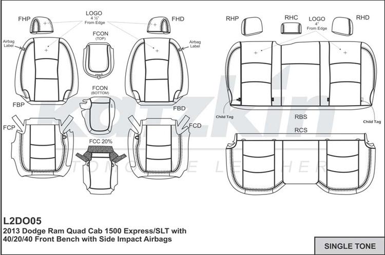 2018 Dodge Ram 1500 Quad Cab Katzkin Leather Interior (3 passenger split  with 2 pc console or 2 passenger base buckets, solid rear, built before