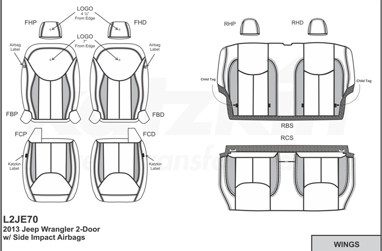 Jeep Wrangler 2 Door Katzkin Leather Seat Upholstery, 2013