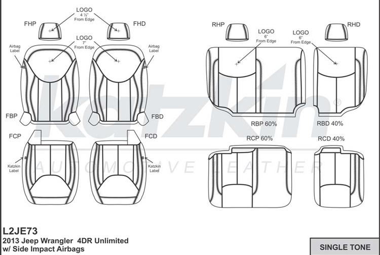 Jeep Wrangler 4 Door Katzkin Leather Seat Upholstery, 2013