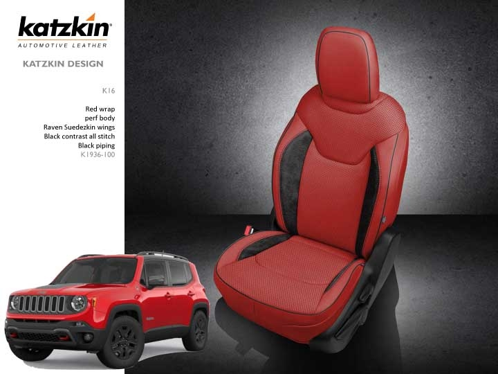 Jeep Renegade Seat Covers >> 2015 2019 Jeep Renegade Katzkin Leather Interior With Rear Armrest 2 Row